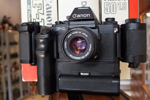 Canon New F-1 + AE finder, motor and 100 film chamber kit