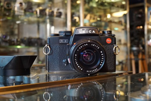 Leica R-E camera + Leitz Elmarit-R 2.8 / 28mm 3-cam