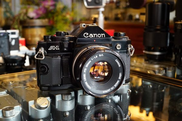 Canon A-1 kit with Canon FD 50mm f/1.8 SC