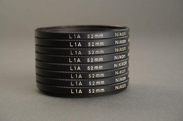 lot of 8x 52mm screw-in Nikon L1A filters