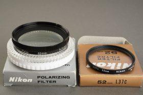 Nikon 52mm filter lot L37C + Polarizing, Both boxed