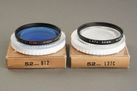 Nikon 52mm filter lot: L37C + B12, Both boxed