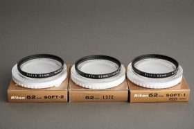 Nikon 52mm filter lot: Soft-1 + Soft-2 + L37C, all boxed