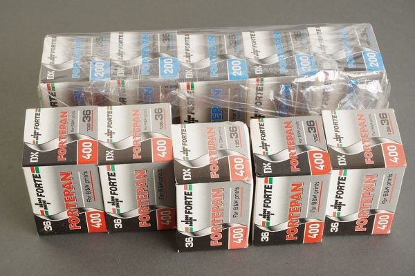 10 packs of Fortepan 135 film. ISA 200 and 400. Expired 2007/2008