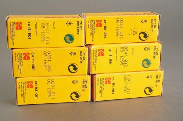 6 rolls of Kodak Technical Pan 120 film TP120, ISO25, expired 95/96/97