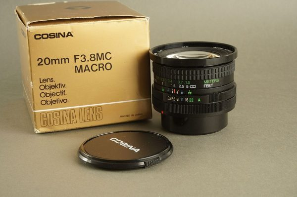 Canon FD fit Cosina 3.8 / 20mm wide lens. Boxed