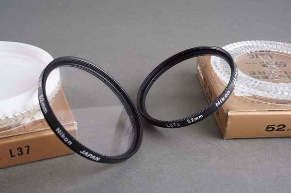 lot of 6x genuine Nikon F 52mm filters. Some boxed all cased. L37, L37C, Red, POL, Yellow