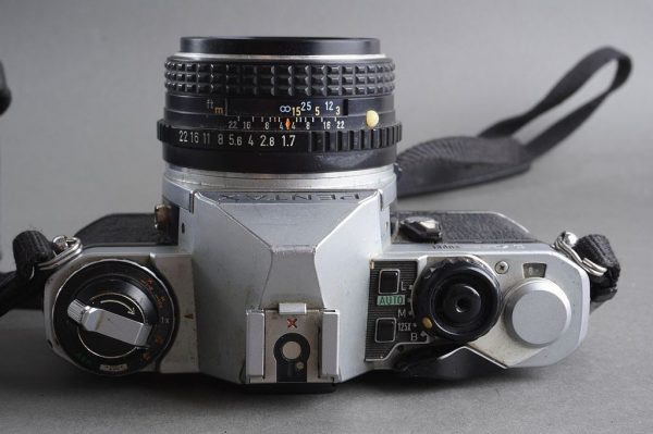Pentax ME Super with Pentax-M 1.7 / 50mm lens in case