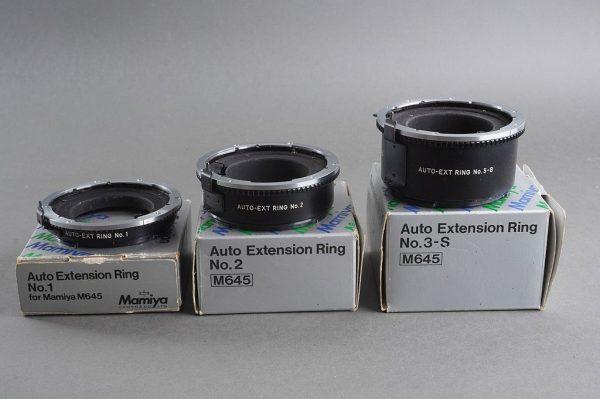 Mamiya M645 Extension tube lot, Boxed (Auto extension ring No1 + No.2 + No.3-s)