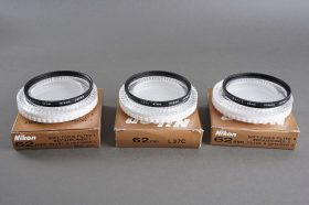 Nikon 62mm filter lot of 3. L37C + Soft-1 + Soft-2. All boxed