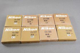 Lot of 8x NIKON 52mm filters, all boxed: Y48, ND8x, R60, X1, B8, L1BC, etc