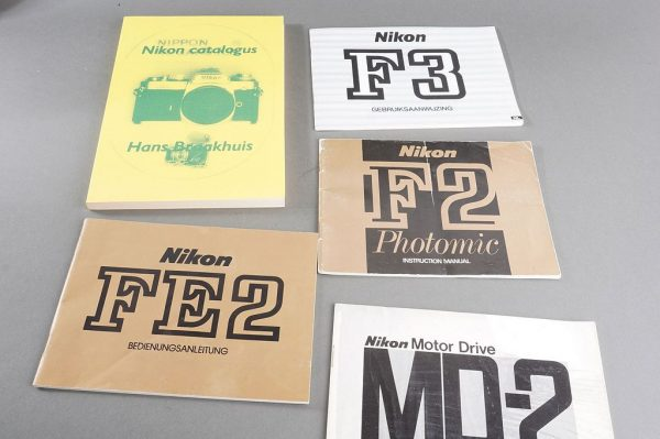 Lot Nikon Manuals: F2 (english, F3, (Dutch), FE2 (German) + Nikon Catalogue by Hans Braakhuis
