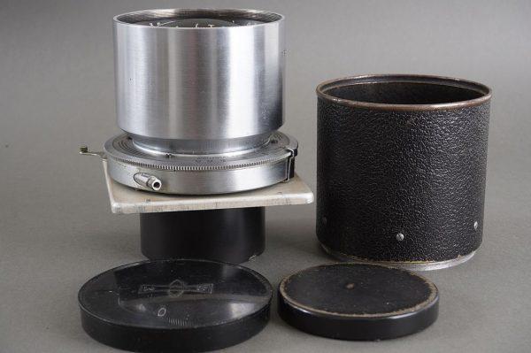 Tele-Optar 15inch (380mm) f/5.6 lens in shutter on Graflex lens baord