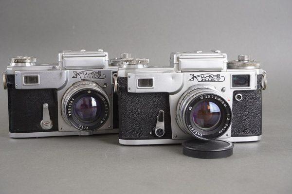 Kiev rangefinder camera with Jupiter-8 5cm 1:2 lens, Contax copy