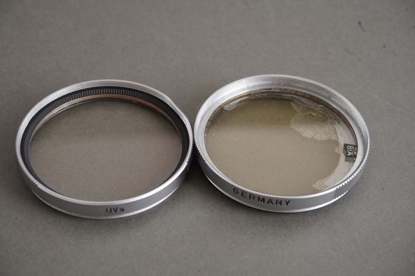 set of 2x E39 genuine Leica filters – UVa and 81A – both with issues