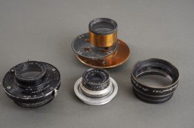 lot of 4x various vintage lenses / parts, Beck, Wray, unmarked brass