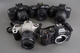 Lot of 4x various AF cameras: Canon, Olympus, Pentax – all with lenses + Nikon N2020 AF