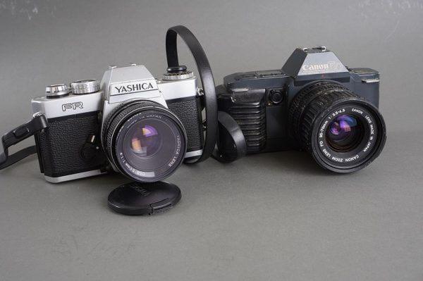 Lot of 7x various vintage cameras with lenses and issues  – Nikon, Canon, Pentax, Yashica, Topcon