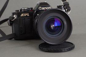 Black Canon AV-1 camera body + Sirius MC 18-28mm 1:4-4.5 zoom lens