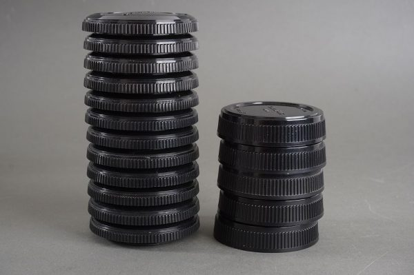 Set of genuine Olympus OM caps for camera body (12 pieces) and back lens caps (5 pieces)