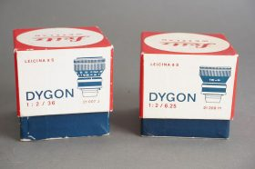 lot of 2x Dygon lenses for Leicina camera: 2/6.25 and 2/36, both boxed