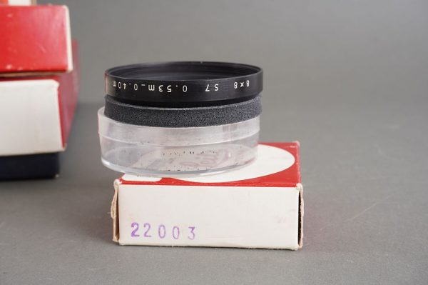 set of genuine Leica Leitz accessories for Leicina camera, all boxed