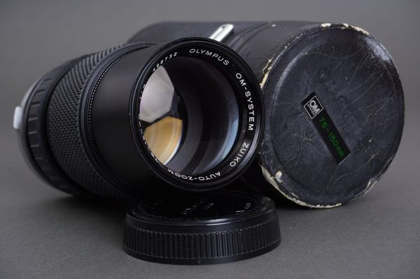 Olympus Zuiko Auto-Zoom 75-150mm 1:4 lens, cased