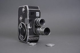 Paillard Bolex B-8 8mm camera with 12.5mm Yvar-Filtin and 1.5 inch f/1.9 Kinotel lenses
