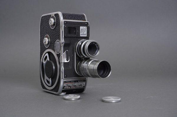 Paillard Bolex B-8 8mm camera with 12.5mm Yvar-Filtin and 1.5 inch f/1.9 Kinotel lenses