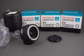 Pentacon Electric Tele Converter 2x Extension Tube 1:1, M42 mount, boxed, NOS – lot of 3x