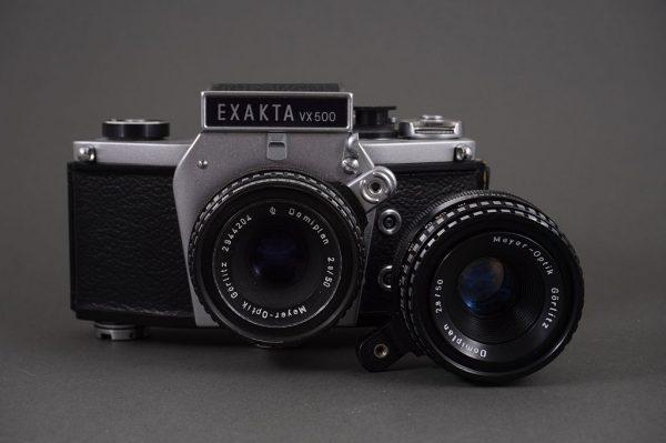 Exakta VX500 camera body + 2x Domiplan 2.8/50 lenses