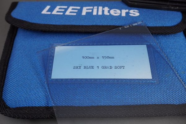 Lee filter holder with built-in lens shade, takes 100mm square filters, with Coral and grad Blue filters