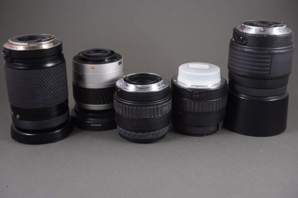 lot of 5x various autofocus lenses, untested