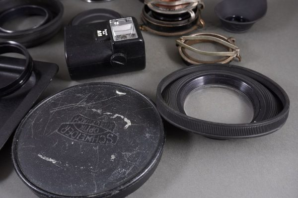 mixed lot of various filters, vintage filter holders, hoods, etc.