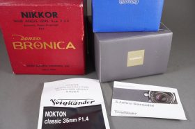 box for Voigtlander Nokton Classic 35mm 1:1.4 + box for Nikkor 5cm 1:3.5 Bronica lens + Schneider box