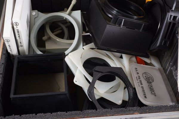 a bunch of Cokin A filters + holders, few P also, fitted in a small flightcase