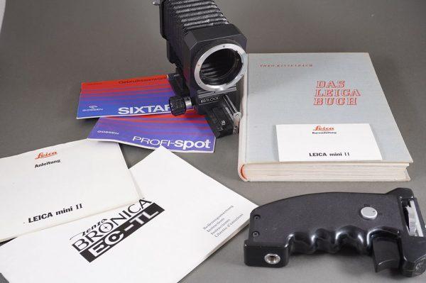 Olympus OM fit macro bellows by Kenko + unmarked pistol grip + Leica Buch