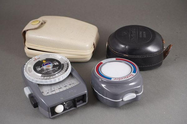 Gossen Lunasix exposure meter with Sixticolor meter, both cased