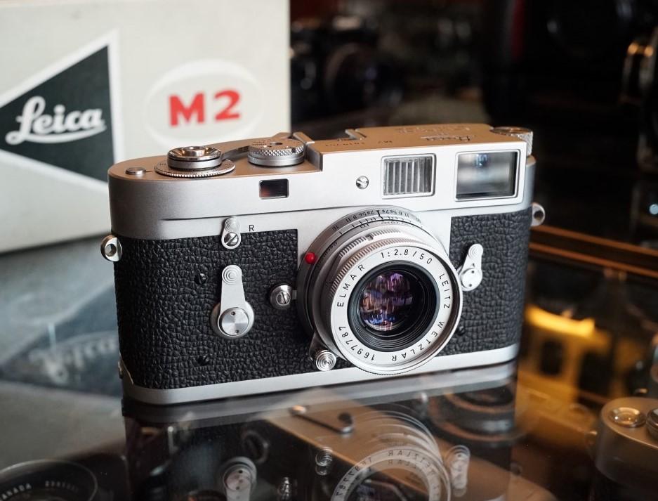 Leica M2 camera met Leitz Elmar 2.8 / 50mm lens in orginele verpakking