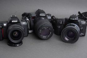 Lot of 3x SLR AF cameras with lenses: NNikon, Minolta, Sigma