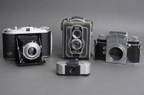 Lot of 4x various vintage cameras: Agfa, Ising, Exa