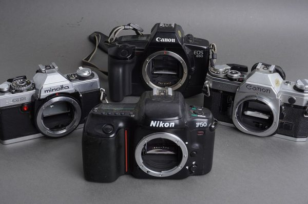 Lot of 4x film SLR cameras: Nikon, Canon, Minolta