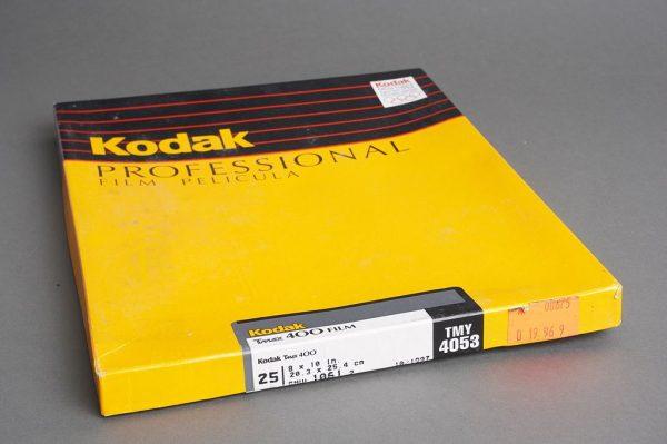 sealed box of 8×10 inches Kodak Tmax 400 / TMY 4053 film, 25 sheets, expired 10/1997