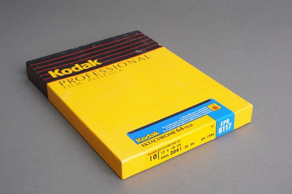 sealed box of 4×5 inches Kodak Ektachrome 64 / EPR 6117 film, 10 sheets, expired 09/1996