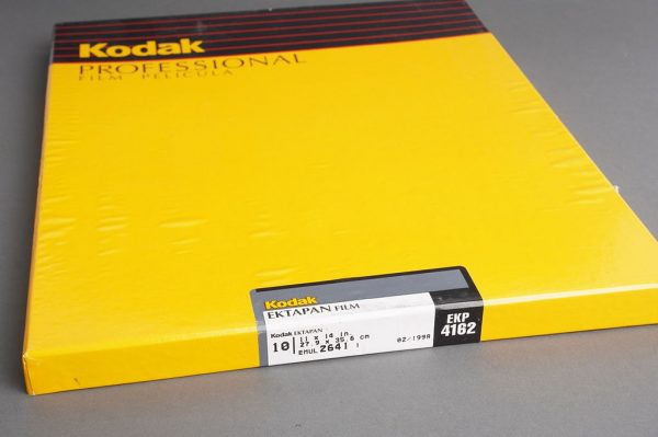 sealed box of 11×14 inches Kodak Ektapan / EKP 4162 film, 10 sheets, expired 02/1998