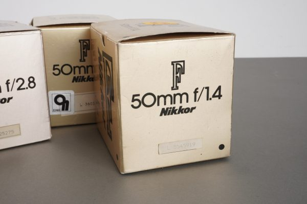 3x empty box for Nikkor lenses: 2.8/20 2/50 and 1.4/50, with add-ons
