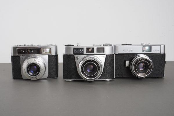 3x vintage film cameras: Kodak and Zeiss Ikon