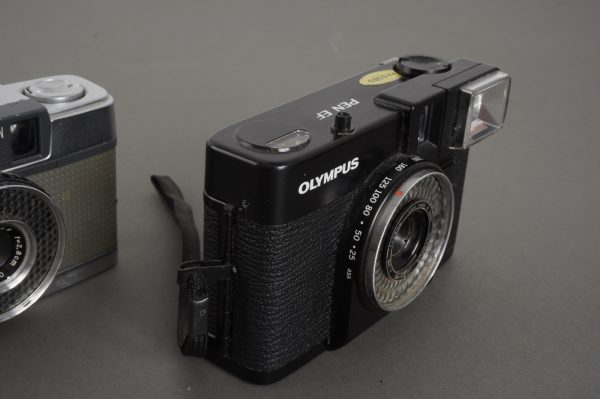 3x half frame Olympus cameras: Pen-D, Pen-EE, Pen-EF