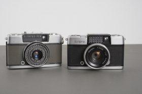 2x half frame Olympus cameras: Pen-D, Pen-EES-2
