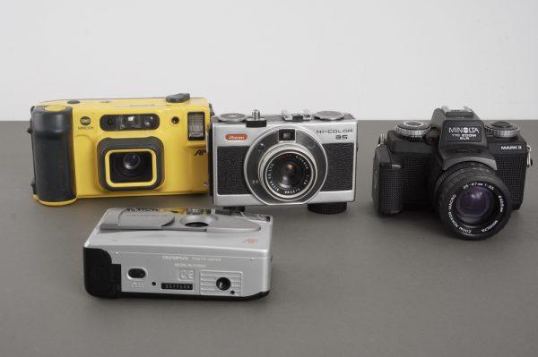 4x compact film cameras, Ricoh, Minolta, Olympus